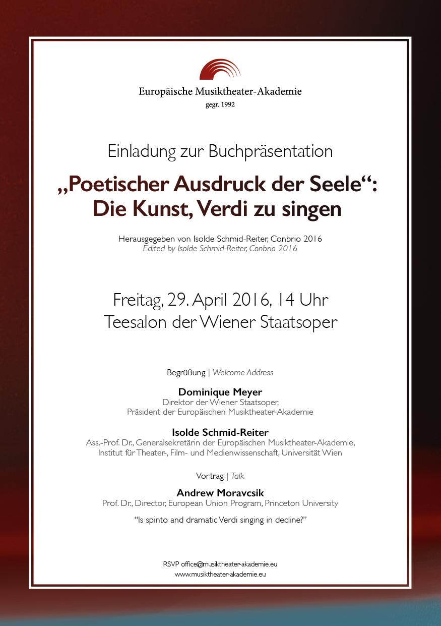 Invitation Poetischer Ausdruck der Seele: Die Kunst, Verdi zu singen –Book Presentation