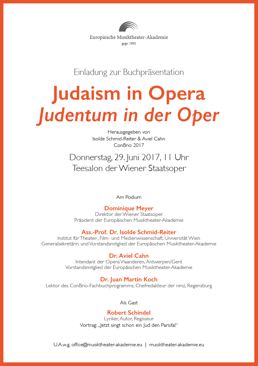 Einladung Judaism in Opera